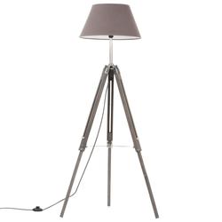 vidaXL Stativlampe Grau Teak Massivholz 141 cm