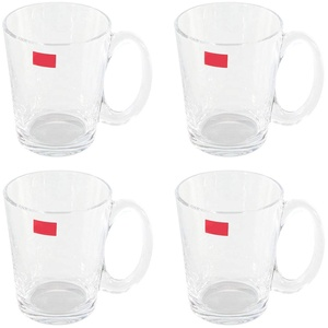 Teeglas mit Henkel 300 ml - 4er Set - Glas Becher Trinkglas Latte Macchiato Kaffee Tasse