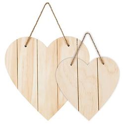Herzen mit Aufhänger aus Holz, 40 cm und 30 cm, 2 Stück