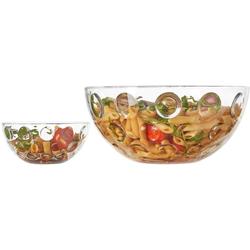 LEONARDO Schale Cucina Optic, Glas, (5-tlg), (1 Schüssel, 4 Schälchen)
