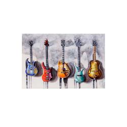 MCW Ölgemälde Wandbild Gitarren, Gitarren, Handgemalt, Hohe Qualität, Jedes Bild ein Unikat, Ölfarben