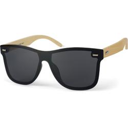 styleBREAKER Sonnenbrille Monoglas Nerd Sonnenbrille Bambus Bügel Getönt braun