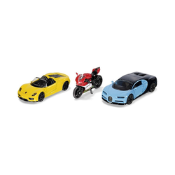 Siku Spielzeug-Auto Sportwagen und Motorrad