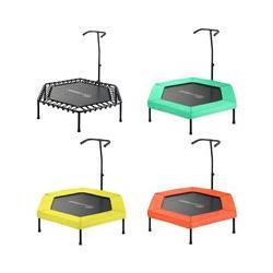 Mini Trampoline de Fitness Hexagonal 127 cm avec Poignée pour Sport Gym Intérieur | Jaune