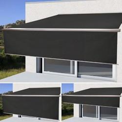 Elektrische Vollkassetten-Markise H124, 4,5x3m ausfahrbarer Volant ~ Polyester Anthrazit