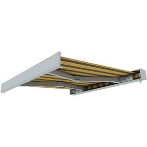 paramondo Markise Kassettenmarkise Line Gelenkarmmarkise Balkon Terrasse Sichtschutz, mit jarolift Funkmotor, 5 x 3 m, Gestell: Weiß, Stoff: Block, Gelb-Grau