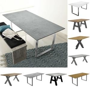 Esstisch The Big Tischsystem Esszimmertisch Keramik Hell Edelstahloptik 180x90