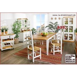 MEXICO Esstisch Tisch, Pinie, Marmor Mosaik, weiß + natur, Landhausstil
