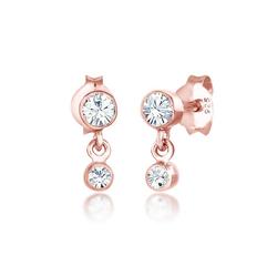 Elli Ohrhänger-Set Ohrhänger Swarovski® Kristalle 925 Silber, Kristall Ohrhänger rosa