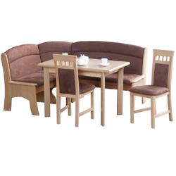 bv-vertrieb Eckbankgruppe Eckbankgruppe Buche ausziehbarer Tisch und 2 Stühlen - (2035), (4-tlg)