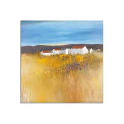 Artland Glasbild Sommerfeld, Felder (1 Stück) 50 cm x 50 cm x 1,1 cm