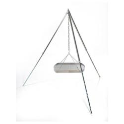 acerto® Grillrost Grillrost (50cm) mit Dreibein (170cm) & Kette Schwenkgrill Feuerstelle