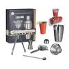 Relaxdays XL Cocktailset 55 Teile mit Kunststoff Getränkebechern Shaker Messbecher Barsieb