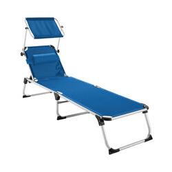 Tectake - Sonnenliege Aurelie - Strandliege, Beachliege, Sonnenliege - blau