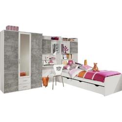 Jugendzimmer Naomi 4 4-teilig weiß / grau B 317 cm