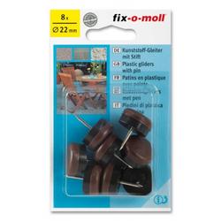 Kunststoffgleiter mit Stift rund 22mm braun fix-o-moll