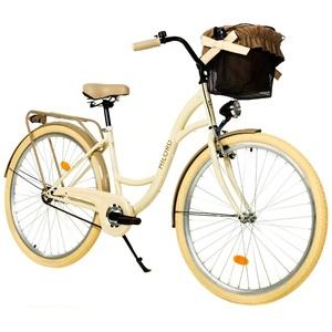 Milord. 28 Zoll 1-Gang Creme Braun Komfort Fahrrad mit Korb Hollandrad Damenfahrrad Citybike Cityrad Retro Vintage