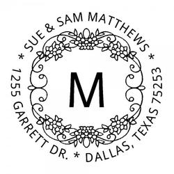 Monogrammstempel - Blumendekor - Trodat 4642
