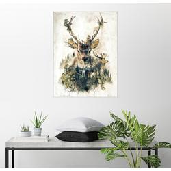 Posterlounge Wandbild, Premium-Poster Hirsch Natur Surrealismus 60 cm x 80 cm