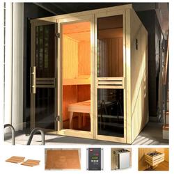 weka Sauna Classic, BxTxH: 177 x 194 x 199 cm, 68 mm, 7,5 kW Ofen mit ext. Steuerung, Fenster