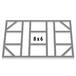 "Globel Industries Fundamentbodenrahmen für Gerätehaus ""Skillion 86"",aluminium blank,113 x 234 cm"