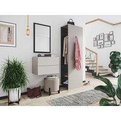 Emotion Garderoben-Set Garderobe Blu-S 3 tlg Konsole Push-to-open Spiegel Paneel 6 Paar Creme-Grafit