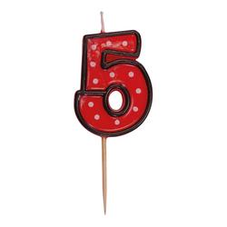 Zahlenkerze, Geburtstagskerze `5` rot, ca. 85 mm