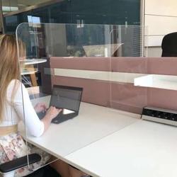 Neudoerfler Distanz Screen Plexiglas 4er Pack - Schreibtisch Trennwand - Spuc...