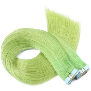 Tape In - On Hair Extensions - # GRÜN - 70cm - 10 Tressen je 4cm Breit/2,5g - 100% Remy Echthaar Haarverlängerung/Extention mit Klebeband Tressen by NOVON Hair Extentions