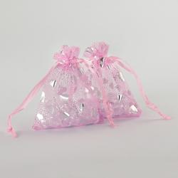 10 x Organzasäckchen Organzabeutel Schmuckbeutel Säckchen rosa Herzen