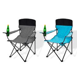 Campingstuhl / Faltstuhl 2er Set grau und blau Getränkehalter Tasche