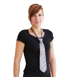 Krawatte Schlips Pailletten Glitzer - silber