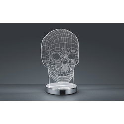 Reality Leuchten LED-Tischleuchte Skull in chromfarbig