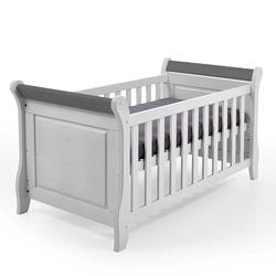 Babybett in Weiß und Grau Kiefer Massivholz
