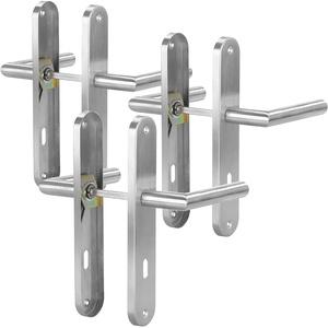 AGT Türgriffe: 3er-Set Moderne Edelstahl-Türbeschläge, 6 Türklinken & 6 Langschilder (Zimmertür Garnitur)