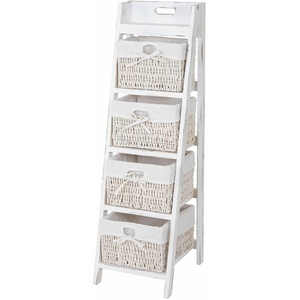 Leiterregal Franca, Standregal Mit 4 Korbschubladen 101x30cm, Shabby-look, Weiß