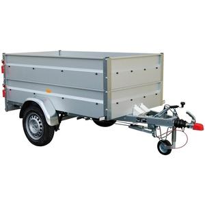 STEMA PKW-Anhänger BASIC 850, max. 650 kg, inkl. Bordwandaufsatz und Flachplane silberfarben