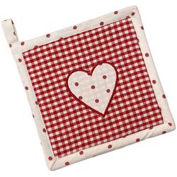 matches21 HOME & HOBBY Topflappen Topflappen Landhaus Premium Karo Punkte Herz 16x16 cm, (1-tlg) rot
