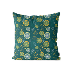 Kissenbezug, VOID (1 Stück), Zitronenblätter Früchte Kissenbezug Lemon Lime Zitrone Limette Vitamine Saft 80 cm x 80 cm