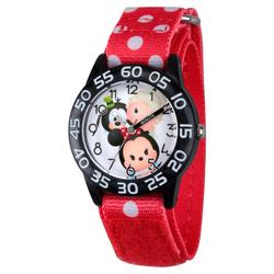 Girls' Disney Mickey Mouse-Dumbo-Mike Wazowski & Snow White Black Plastic Time Teacher Watch - Red