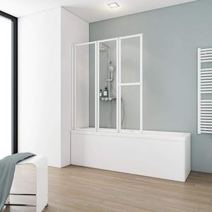 Schulte Badewannenfaltwand Komfort, alpinweiß, Kunstglas mit Softline-Dekor, D1510 04 01