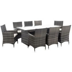 CLP Gartenmöbelset Avignon BIG, 8 Gartenstühlen mit Sitzkissen grau
