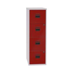 Bisley Home Hängeregisterschrank PFA aus Stahl, ohne Sockel, A4 rot 41.3 cm x 132.1 cm x 40 cm