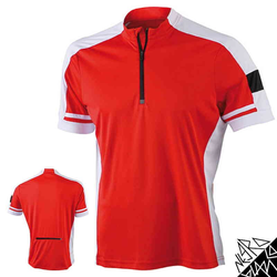 Herren Radtrikot / Fahrradtrikot | James & Nicholson rot XL