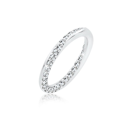 Elli Fingerring Bandring Kristalle Silber, Kristall Ring weiß 58