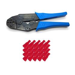 ARLI Crimpzange ARLI Handcrimpzange 0,5 - 6 mm² - Crimpzange Presszangen Zange + 50 x Flachsteckhülsen 0,5 - 1,5 mm² rot 6,3 x 0,8 mm