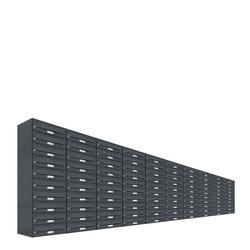 AL Briefkastensysteme Briefkasten 100 Fach Auf- und Unterputzanlage RAL 7016 Anthrazit DIN A4
