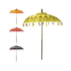 Oriental Galerie Sonnenschirm Balinesischer Sonnenschirm 180 cm Doppelte Bemalung Gelb Gold, Handarbeit gelb