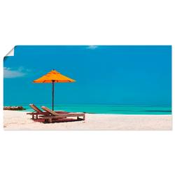 Artland Wandbild Liegestuhl Sonnenschirm Strand Malediven, Strand (1 Stück) 100 cm x 50 cm