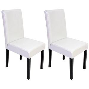 2x Esszimmerstuhl Stuhl Küchenstuhl Littau ~ Kunstleder, weiß, dunkle Beine